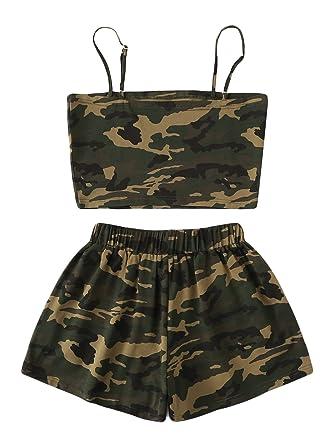 8484231f8443 SweatyRocks Women's 2 Piece Set Spaghetti Strap Crop Top and Shorts Set at Amazon  Women's Clothing store: