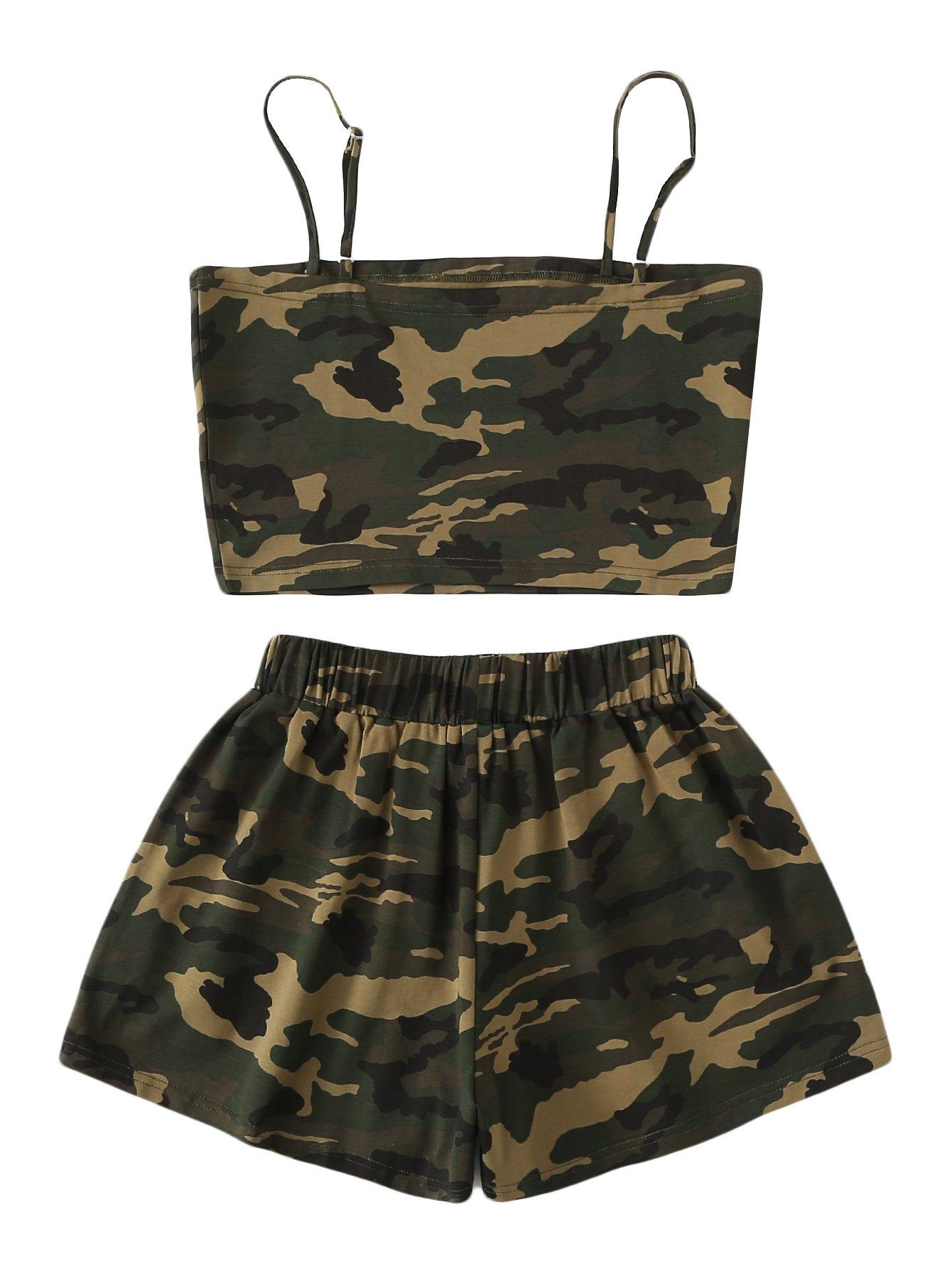 SweatyRocks Women's 2 Piece Set Halter Crop Top and Shorts Set Camo L