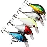 A-szcxtop Lot 5pcs 8.8g 6cm Crank Fishing Lures Floating Fish Bait Bass CrankBait Hooks Tackle