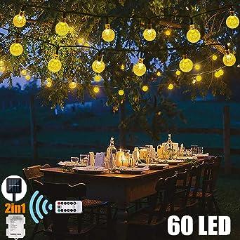 60 luces LED de jardín con luces de cuerda solares y batería (2 en 1) 33