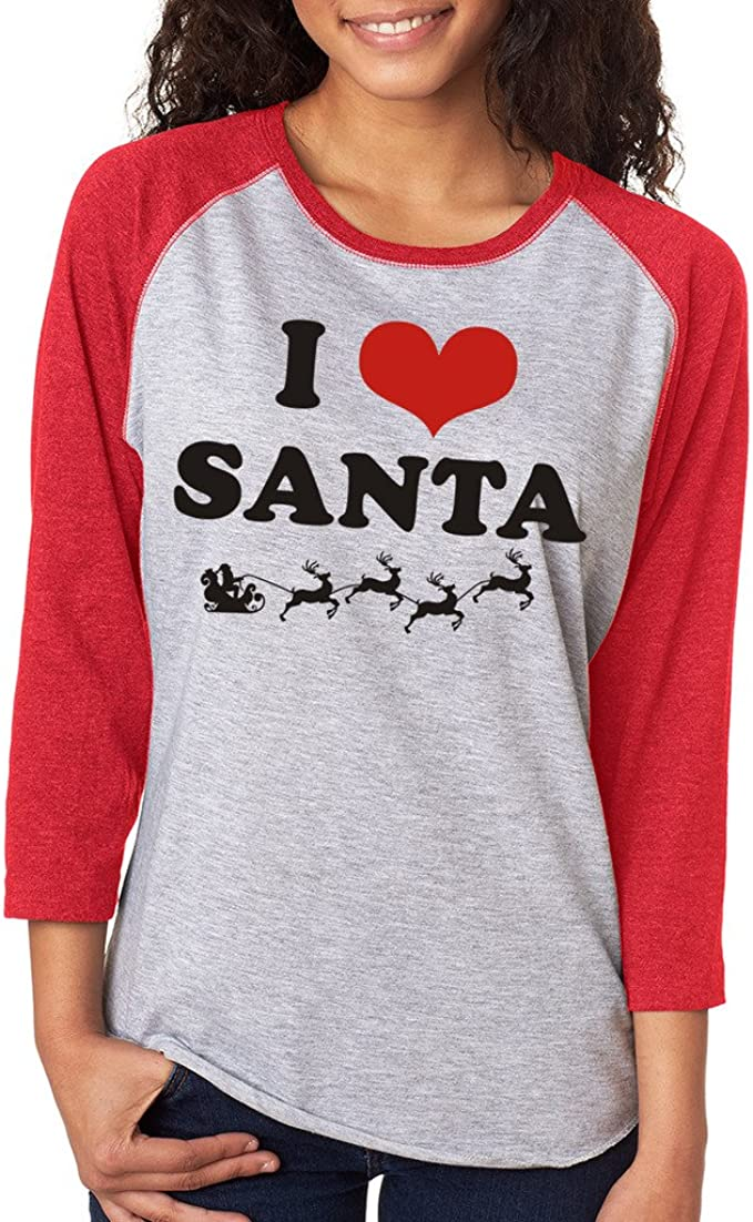 Amazon Com Signaturetshirts Women S I Heart Santa Christmas 3 4 Tee Clothing