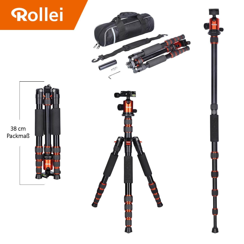 Treppiede da viaggio Rollei Carbon con testa a sfera - compatibile con le fotocamere DSLR e DSLM - incl. monopiede, piastra a sgancio rapido Acra Swiss e borsa per treppiede