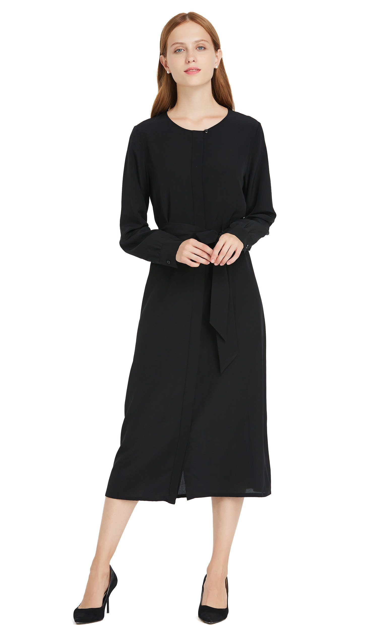 LilySilk Pure Silk Dress for Womens 18MM Basic Round Neck O neck Long Sleeve Maxi Vintage Style Black M/8-10