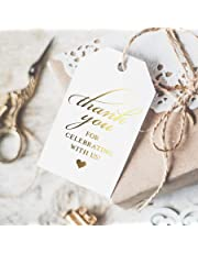 Bliss Collections Gold Thank You Tags — Perfect for: Wedding Favors, Baby Shower, Bridal Shower, Birthday or Special Event, 50 Pack