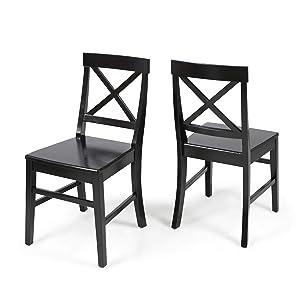 Christopher Knight Home 303850 Truda Farmhouse Black Finish Acacia Wood Dining Chairs