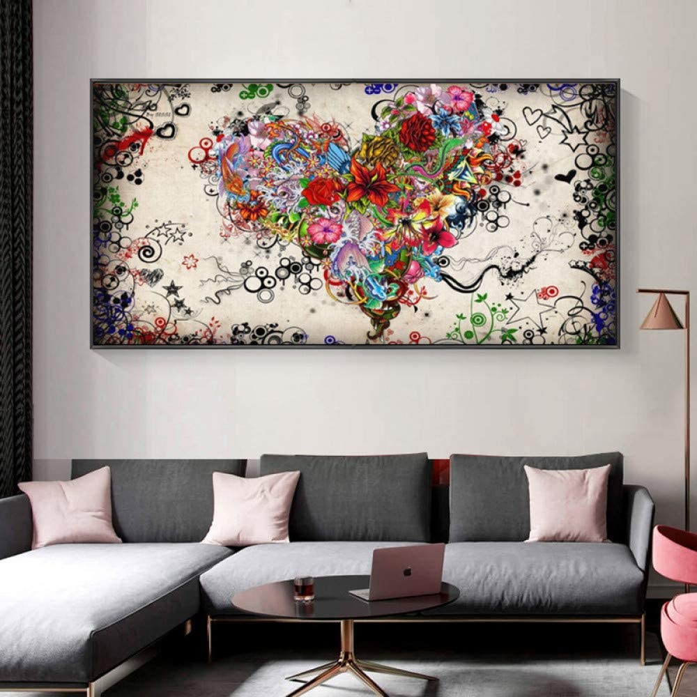 Cuadro en lienzo abstracto colorido corazón flor cartel y sala de estar decoración del hogar mural ilustración