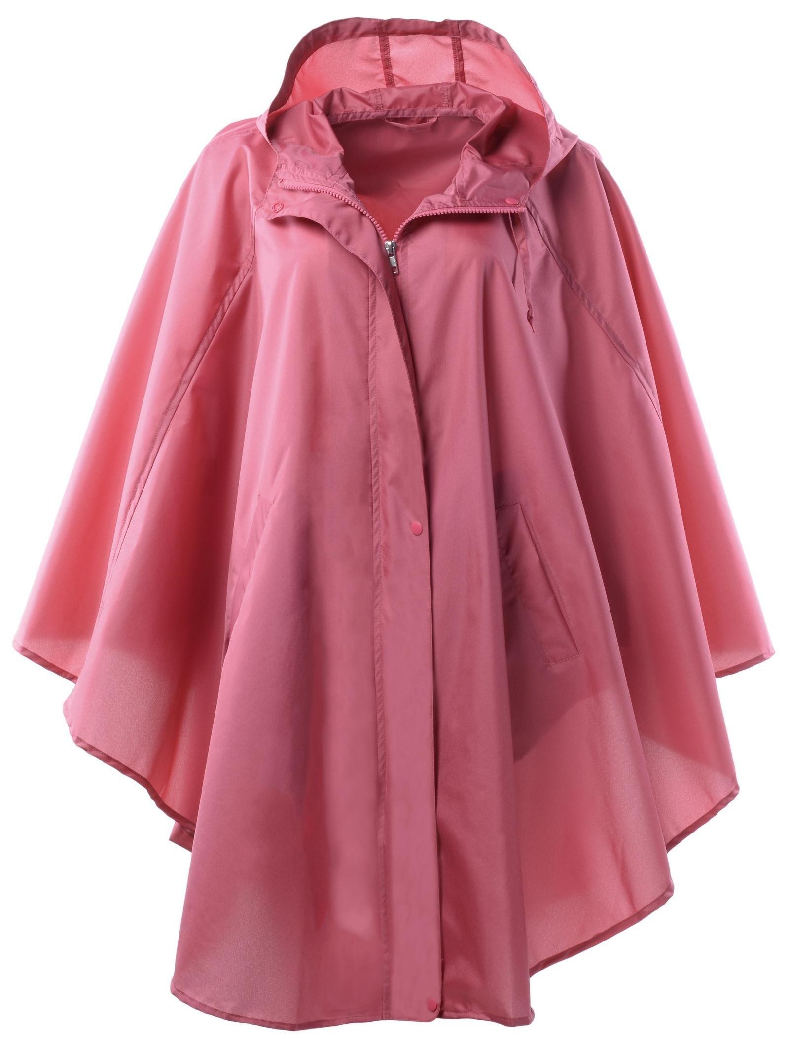 QZUnique Women's Waterproof Packable Rain Jacket Batwing-sleeved Poncho Raincoat,Red,Onesize
