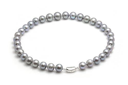 b97a37d154f9 Joyas Willy perlas cadena gris perlas cultivadas Collar Collar 45 Cm ...