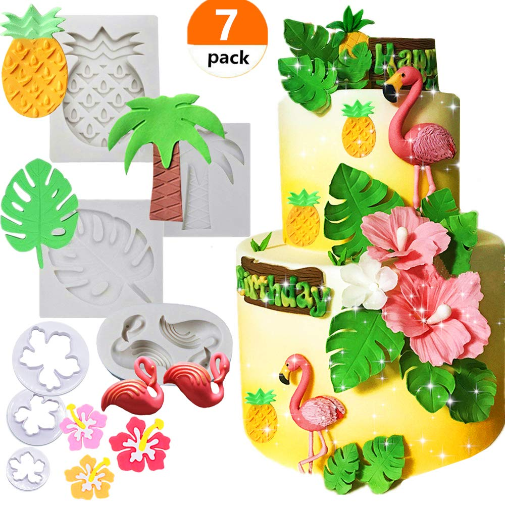 (Set of 7) JeVenis Tropical Rainforest Theme Silicone Cake Fondant Mold Flamingo Pineapple Palm Leaves Coconut Tree Flowers Candy Chocolate Clay Mold Hawaiian Cake Decorating