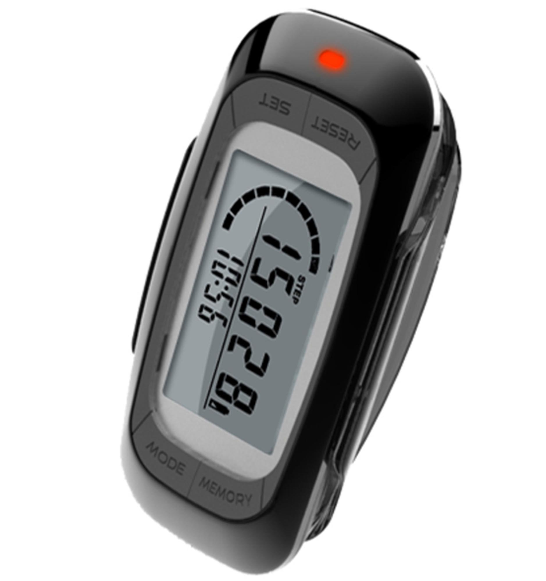 MAYMOC Multifunctional 3D Pedometer with Clip and Strap - Accurate Step Counter, Distance Miles and Km, Calorie Counter,7 Day Memory, Daily Target Progress Monitor, Exercise Time 12 Month Warranty