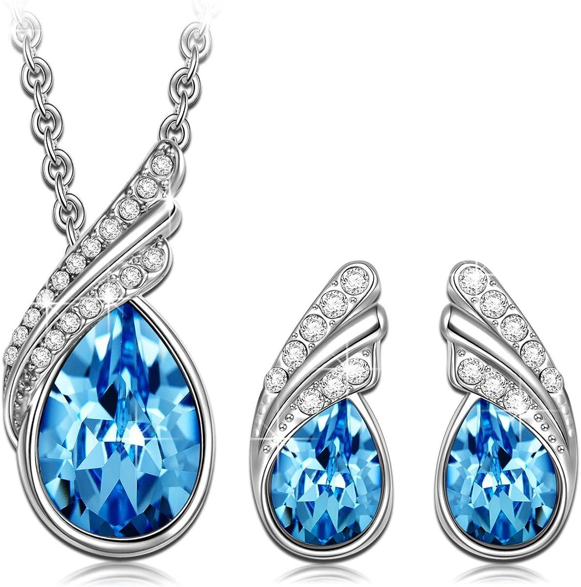 Kami Idea Mujer Conjunto de Joyas, Pluma Azul, Collar y Pendientes, Cristales de Swarovski, Embalaje de Regalo, Regalos para Mamá