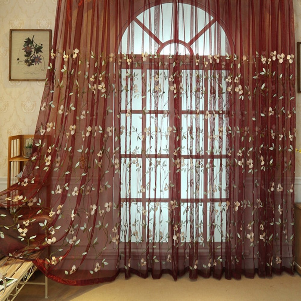 Amazon WINYY Rustic Embroidery Sheer Curtain Yarn Floral Window Rod Pocket Top Tulle For Living Room Dining Drape 1 Panel W40 X H63 Inch