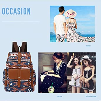 566e14cadf39 Amazon.com  Women Canvas Backpack Drawstring Knapsack Girls Casual Book Bag  Bohemian Style Rucksack Outdoor Sports Daypack(Blue)  Clothing