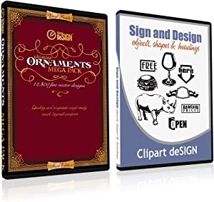 Sign Clipart, Design Elements, Scrolls, Floral, Flourishes, Ornamental Panels Frames Vinyl Cutter Plotter Vector Clip Art Images, Graphics on CD [includes Sign