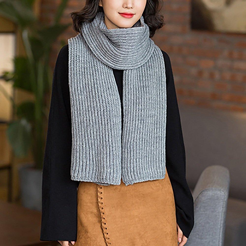 Chal con bufandas Bufandas grises Mujer invierno otoño e invierno de punto engrosamiento color puro ...