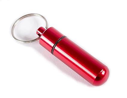 Aribari Pastillero de Aluminio Mini con Llavero. Caja de Pastillas Impermeable. Cápsula de Emergencia. Etiqueta de Regalo o Etiqueta de dirección. ...