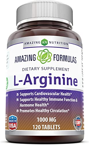 Amazing Nutrition L-Arginine 1000mg Supplement – Best Amino Acid Arginine HCL Supplements for Women Man – Promotes Circulation and Supports Cardiovascular Health – 120 Tablets Non-GMO,Gluten Free