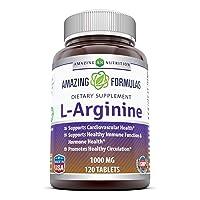 Amazing Nutrition L-Arginine 1000mg Supplement - Best Amino Acid Arginine HCL Supplements...