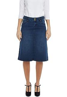 144841f8d2 USKEES Kim Stretch Denim Flared Skirt - Midwash Panelled Jean Skirt ...
