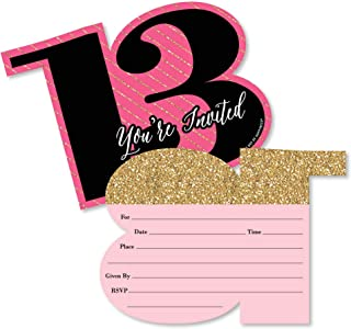 product image for Big Dot of Happiness Chic 13th Birthday - Pink, Black and Gold - Shaped Fill-in Invitations - Birthday Party Invitation Cards with Envelopes - Set of 12