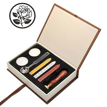 Mogoko - Kit vintage para envío de cartas con sellos personalizados - Incluye: 1 x sello para sellar + 3 x cera de lacre + 2 x cera + 1 x cuchara para ...