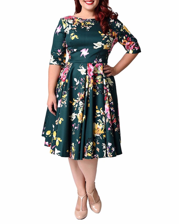 ZAFUL Mujer Vintage Vestido Boda Fiesta Impresión Flores Mangas Medias Talla Grande 56-58