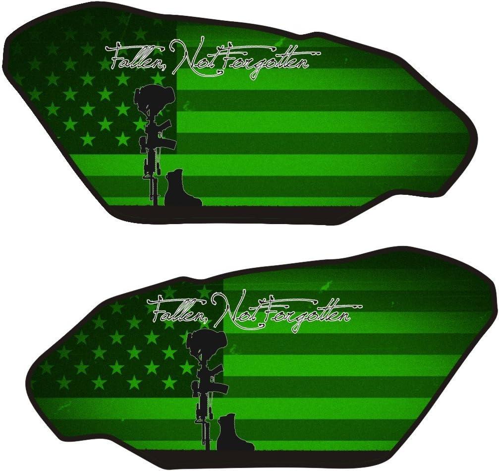 Size is 4.4 in tall x 9.3 in wide Universal Fallen Soldier Green 3d Gel Motorcycle Gas Tankpad side protectors
