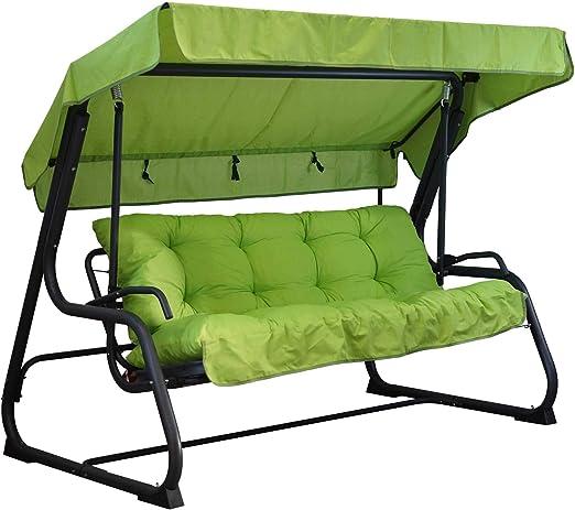 Tecnoweb - Cojines para balancín de 3 plazas - Incluido también el techo a juego - 100 % fabricado en Italia - Ideal para exteriores (jardines y patios) - Estructura no incluida, Lima: Amazon.es: Jardín