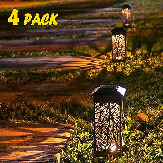 Lamparas solar de Jardin, 4 pcs de Lámpara Solar Luz ambient, Lámparas Solares Farola LED IP65 Decoración de efecto de luz a prueba de agua para patio césped jardín arenoso playa patios: