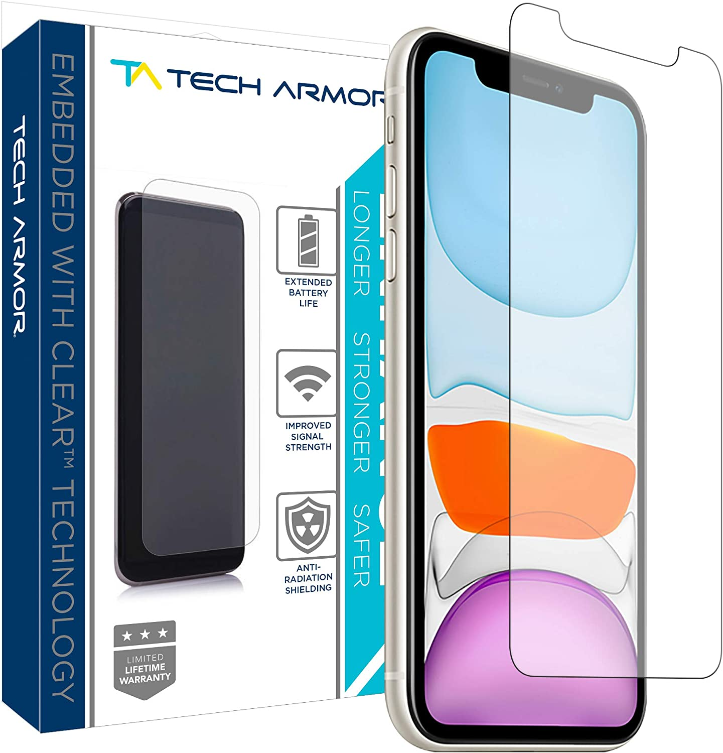 Tech Armor Enhance Radiation Blocking Screen Protector for New 2019 Apple iPhone 11 / iPhone Xr - Blocks Harmful Radiation, Improves Battery Life and Cell Signal - [1-Pack]