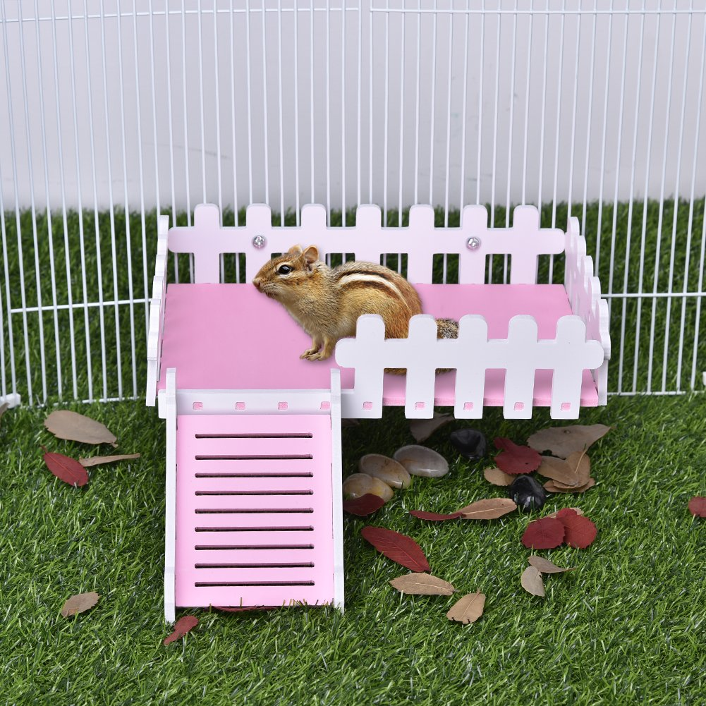 Yunt Pet Toy Platform Cute Climbing Kits Hamster Crawling Ladder Swing Platform Toys for Hamster Hedgehogs Totoro Squirrel Pink by Yunt (Image #7)