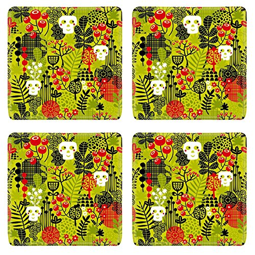 Liili Square Coasters Non-Slip Natural Rubber Desk Pads IMAGE ID: 26795498 Seamless pattern with cute halloween and flowers Vector background -