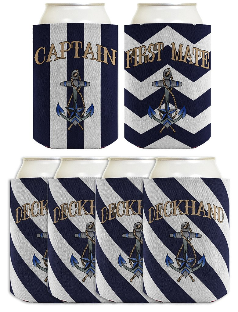 Funny Can Coolie Sailing Captain First Mate Deckhand Bundle Boating Gift 6 Pack Can Coolie Drink Coolers Coolies Navy Stripes