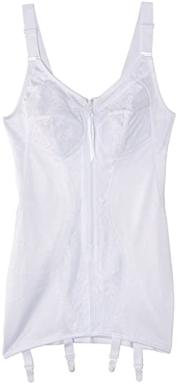 f571b4a2ecead Naturana Womens Corselette with Front Zip and Suspenders 83244 White ...