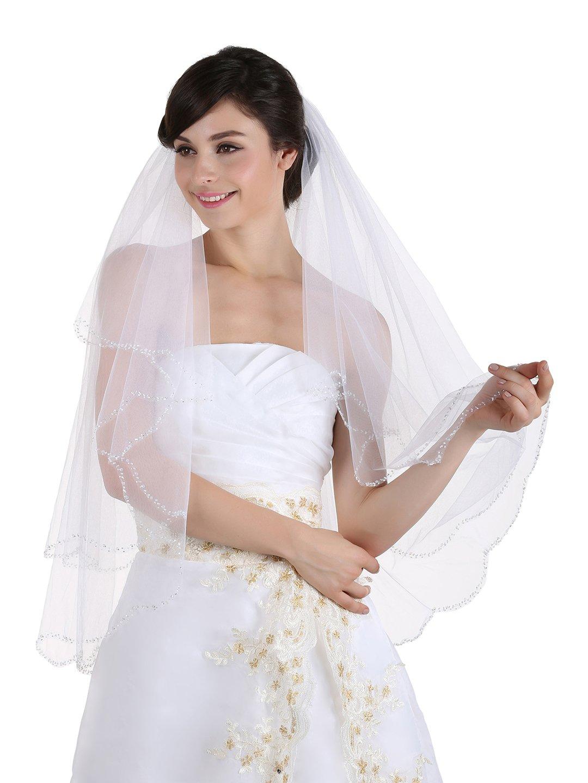 2T 2 Tier Beaded Scallop Edge Bridal Veil - White Fingertip Length 36'' V170