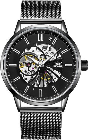 Sewor, orologio da polso da uomo, meccanico a carica manuale