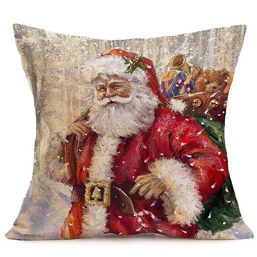 BSRYO Funda de Almohada, Merry Christmas Linen Santa Funda ...