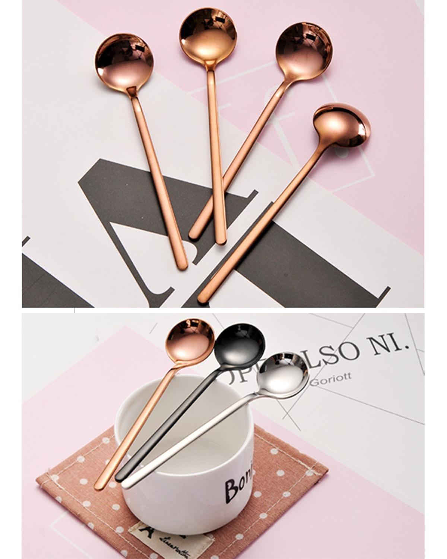 AOLVO Dorado Acero Inoxidable Juego de 4 cucharas de caf/é y t/é de Acero Inoxidable Simple Color Dorado Length:13cm//5.1inch