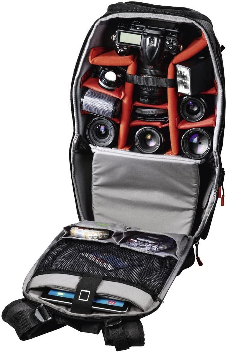 Stand Support Black Hama Access Professional Tour 240 for Professional DSLR Camera with Battery Grip Quick Access Camera Bag with Tablet Compartment Accessory Camera Backpack Back Objectives
