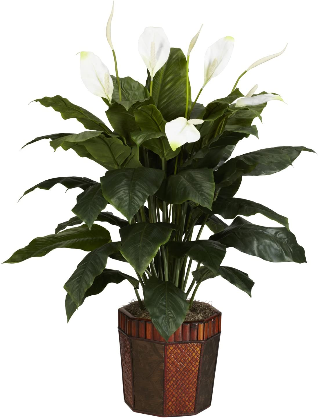 Nearly Natural 6638 Spathiphyllum With Vase Decorative Silk Plant Green Home Kitchen Amazon Com