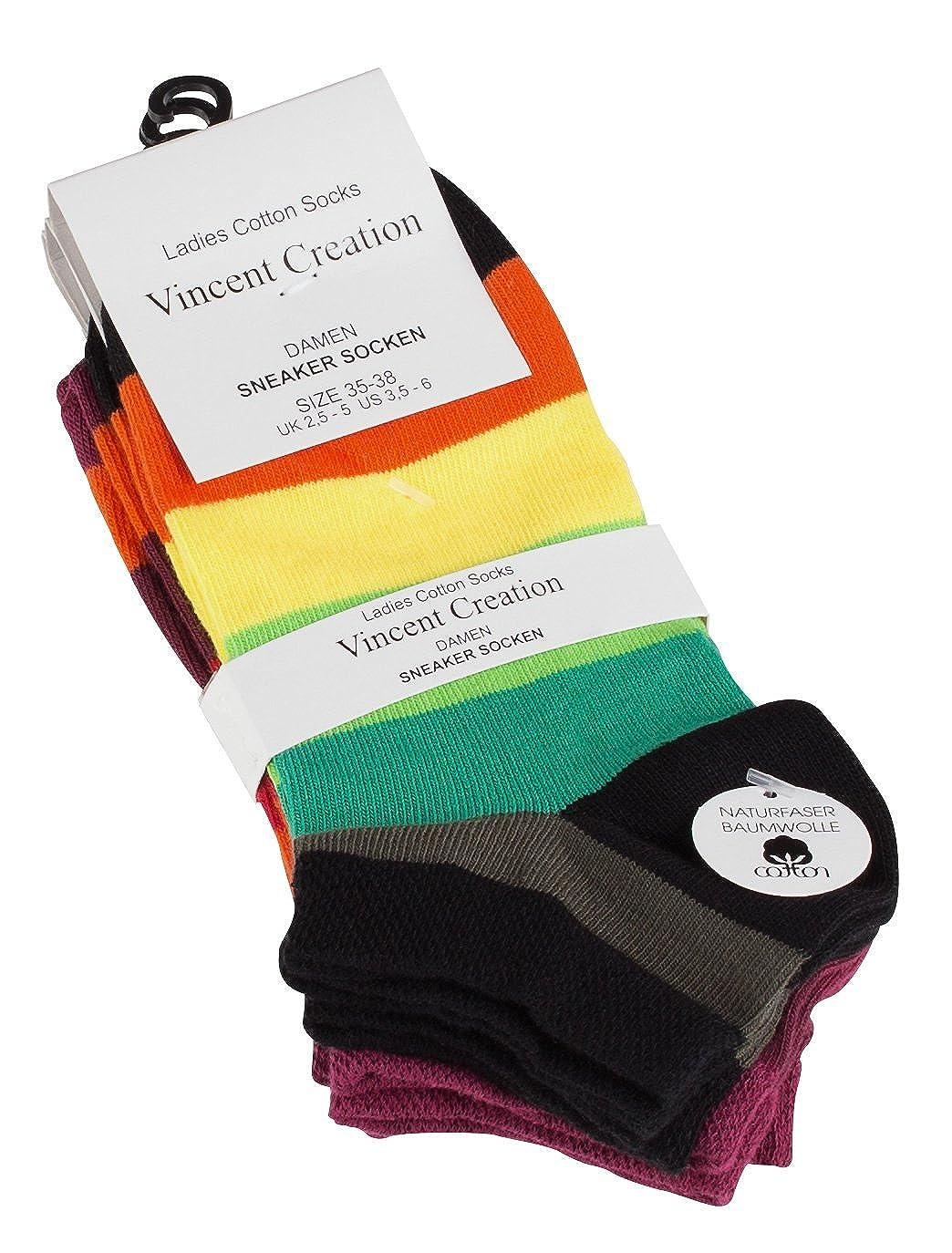 Vincent Creation 8 Paar Trendige Damen Sneaker im knallig bunten Blockstreifen Design
