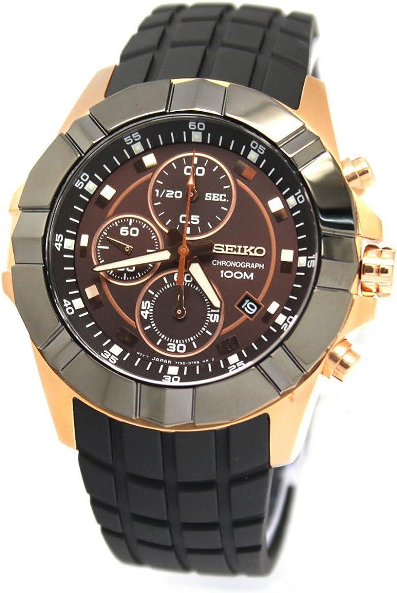 Seiko Brown Dial Chronograph Black Rubber Strap Mens Watch SNDD80