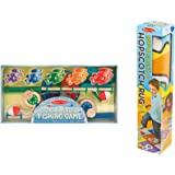 Melissa & Doug Hop & Count Hopscotch Rug & Magnetic Fishing Game Bundle Toy