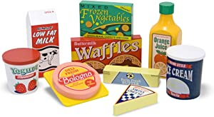 Melissa & Doug Fridge Food Wooden Play Food Set (9 Pieces, Frustration-Free Packaging, Great Gift for Girls and Boys - Best for 3, 4, and 5 Year Olds)