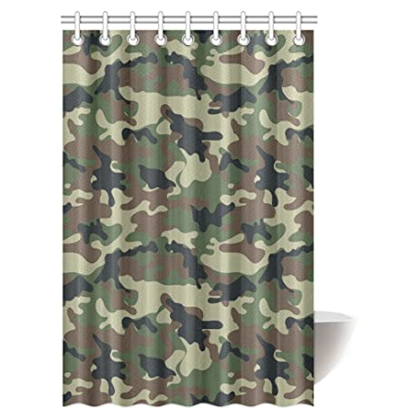 InterestPrint Camo Shower Curtain Green Military Camouflage Army Forces The Great Adventure Authentic Art Bathroom