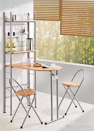 küchentisch mit regal und 2 stühlen, klappbar, holz: amazon.de ... - Küche Tisch