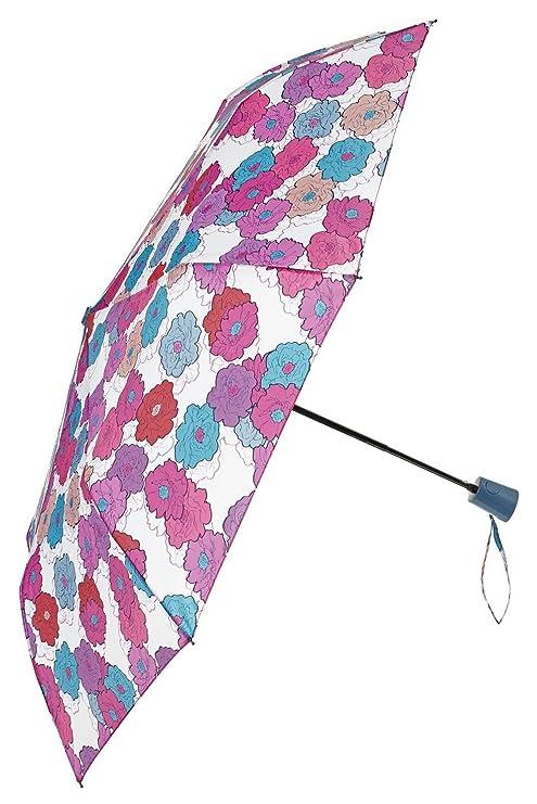 Multi Flores sobre blanco plegable paraguas de Perletti