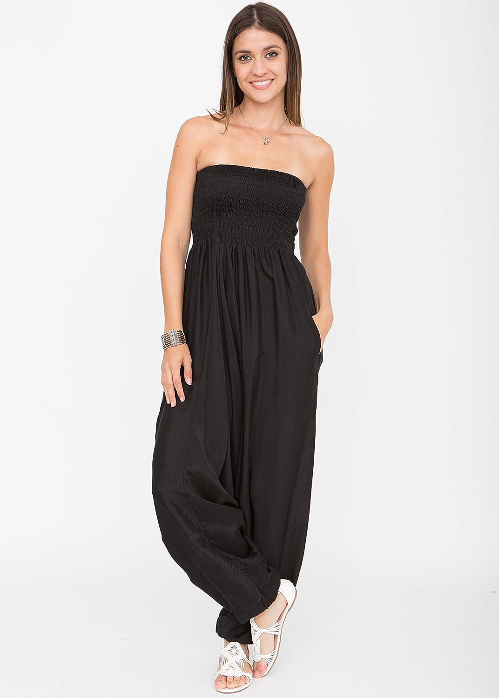 f78a696206 Silk Look Maxi Harem Trouser Jumpsuit Black (One Size)  Amazon.co.uk   Clothing