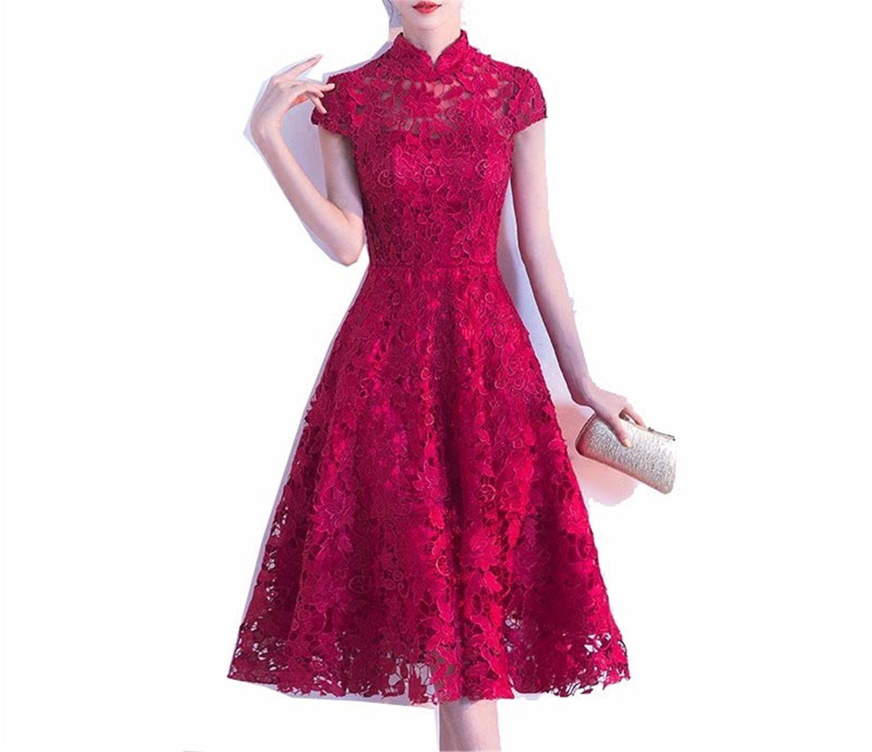 Michael Palmer Women Sexy Red Cheongsam Bride Long Wedding Dress Chinese Lace Traditional Evening Dress Wine Red L