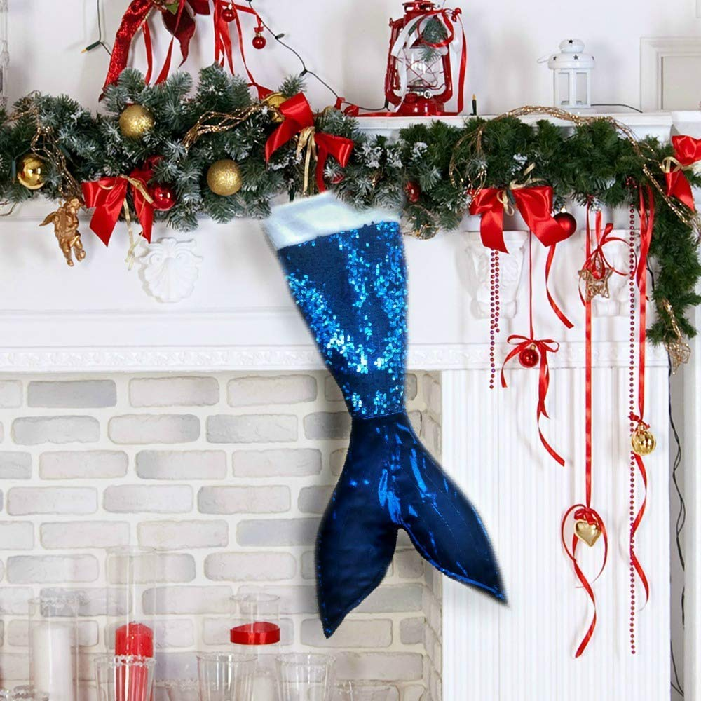 Blue Mermaid Tail Christmas Stocking Holiday Decor for Kids